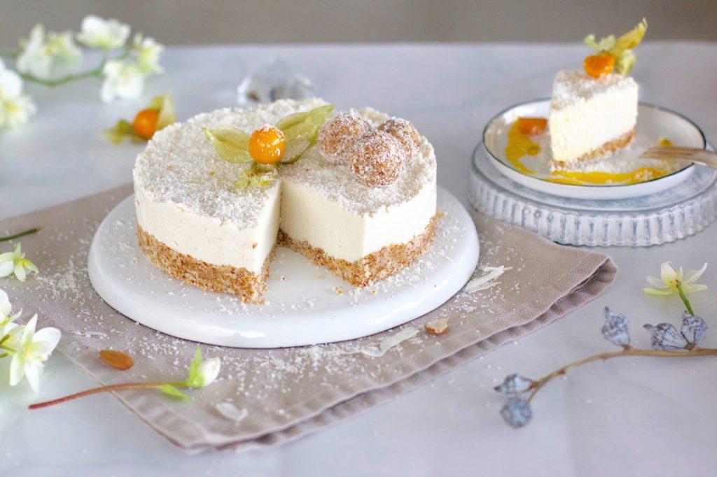 Gesundes Weihnachtsmenu Dessert Kokos Raffaello Torte Mit Mango
